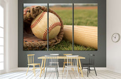 Baseball in a Glove near the Baseball Bat №2115 Ready to Hang Canvas Print