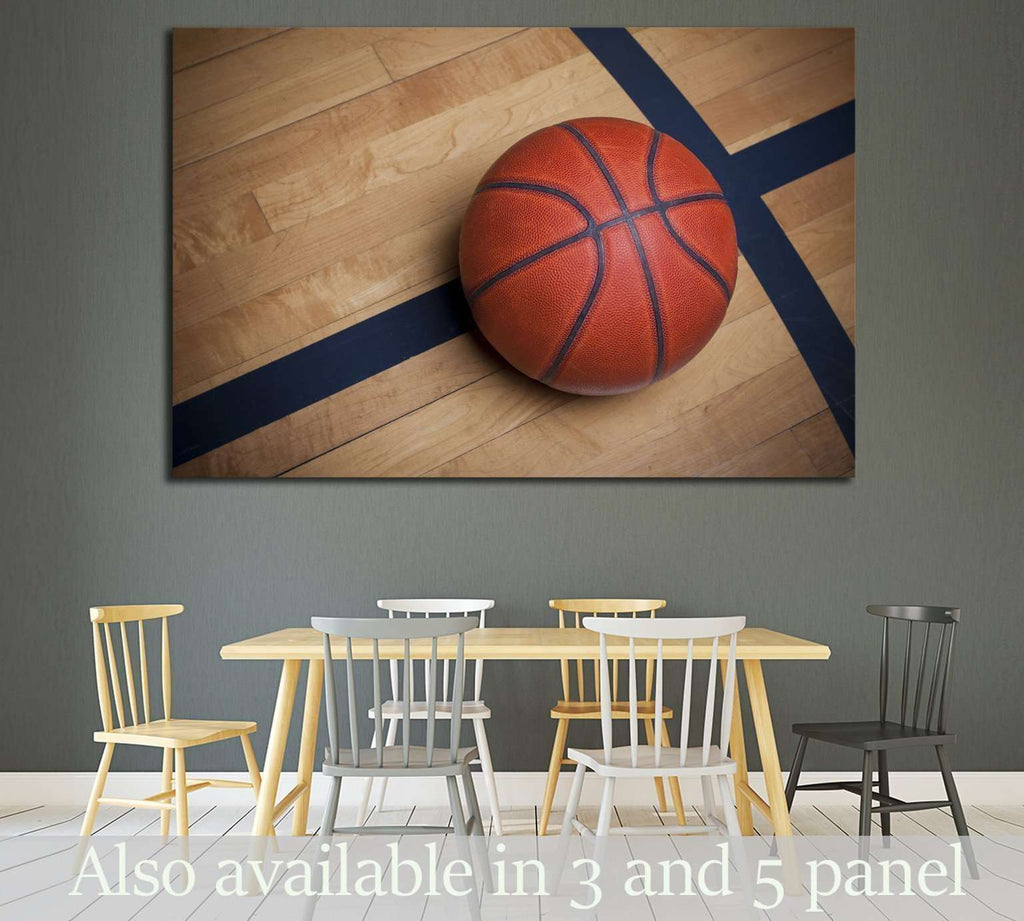 Basketball on a basketball Court №2119 Ready to Hang Canvas Print