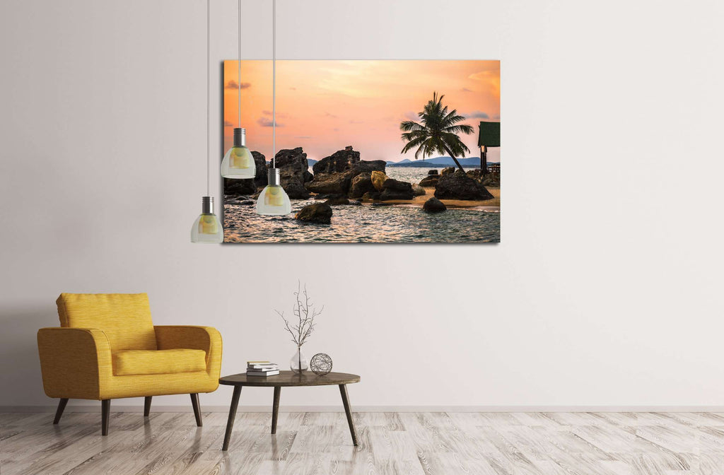 Beach at sunset at Phu Quoc island in Vietnam №3148 Ready to Hang Canvas Print