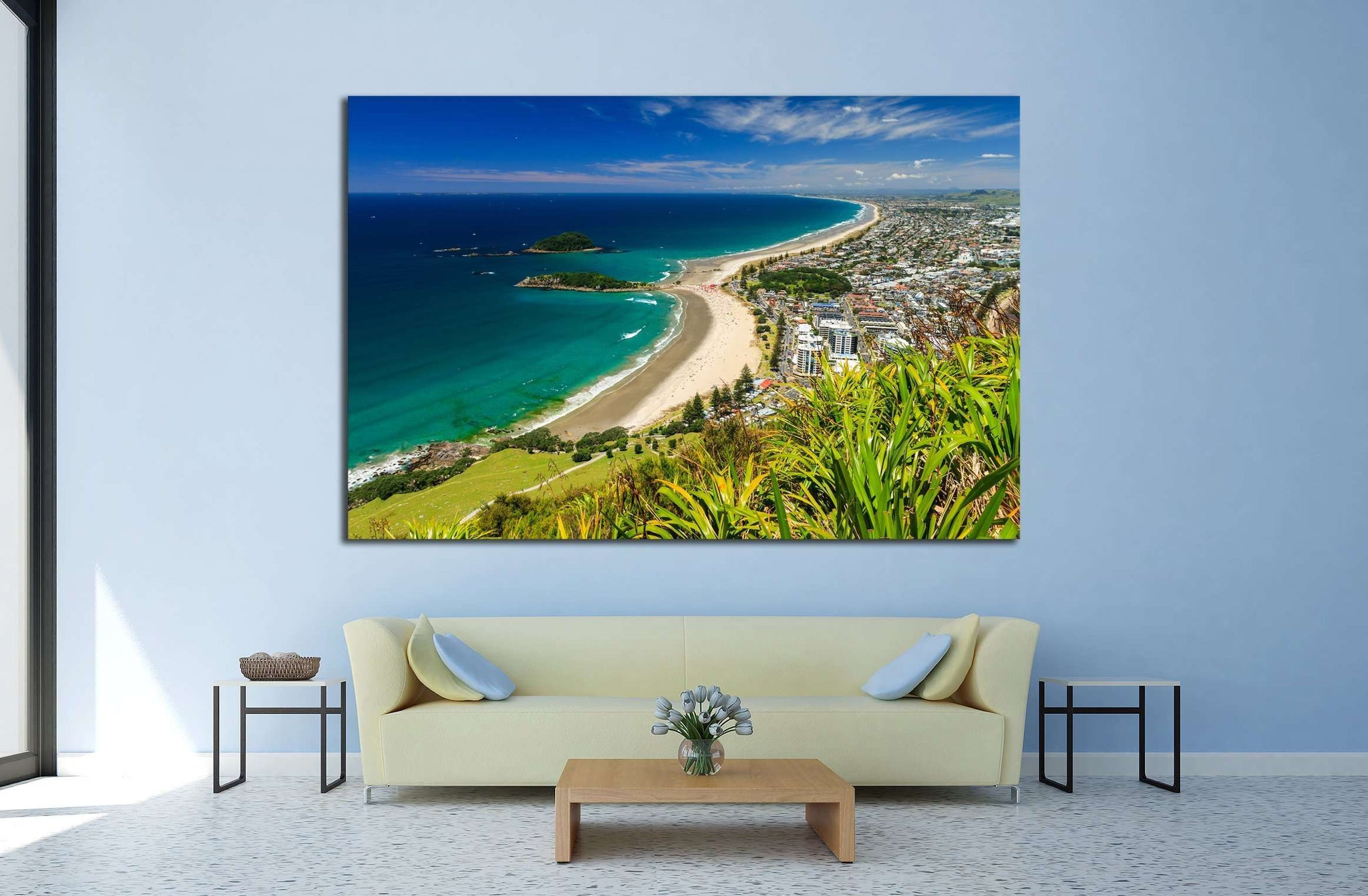Beach with Blue Sky Landscape, Tauranga City, North Island, New Zealand №2847 Ready to Hang Canvas Print