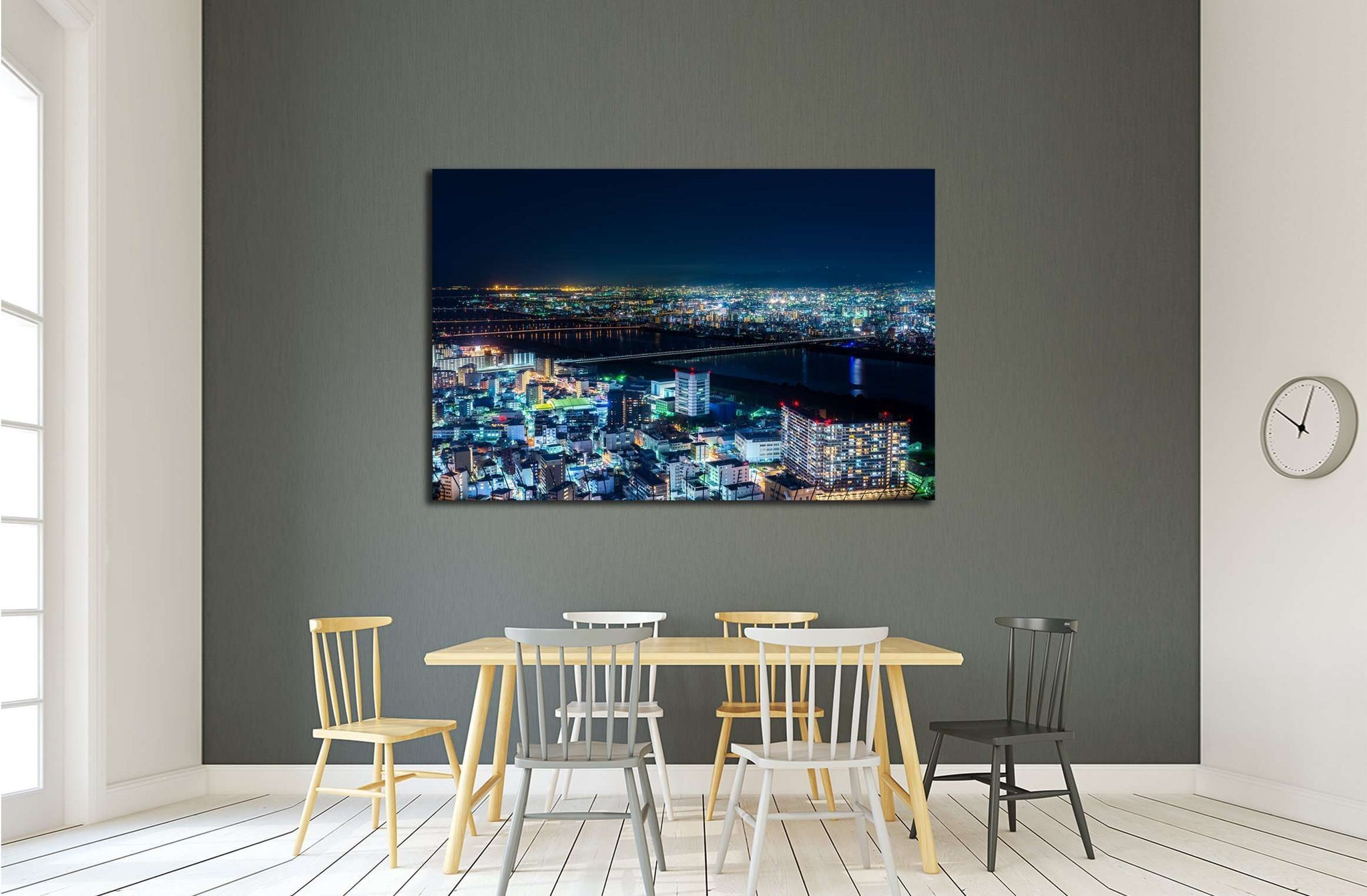 Beautiful Aerial night view of Osaka Cityscape, Japan. №2965 Ready to Hang Canvas Print