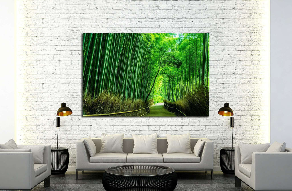 Beautiful Bamboo forest in Arashiyama at Kyoto №1994 Ready to Hang Canvas Print