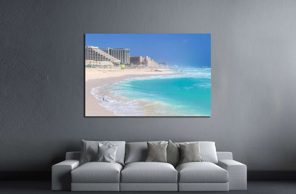 Beautiful beach in Cancun, Zona Hoteliera. Caribbean coast, Yucatan, Mexico №3058 Ready to Hang Canvas Print