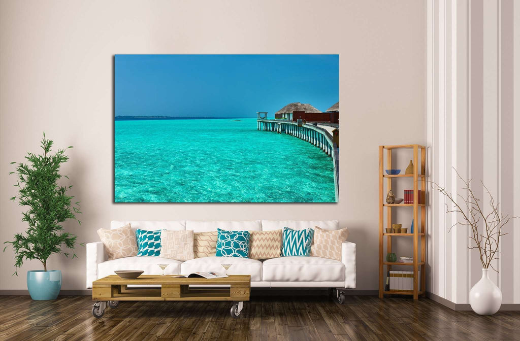 Beautiful beach with water bungalows at Maldives №1817 Ready to Hang Canvas Print