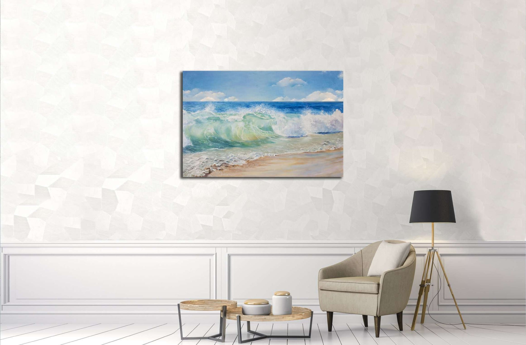 Beautiful, blue, tropical sea and beach №3151 Ready to Hang Canvas Print
