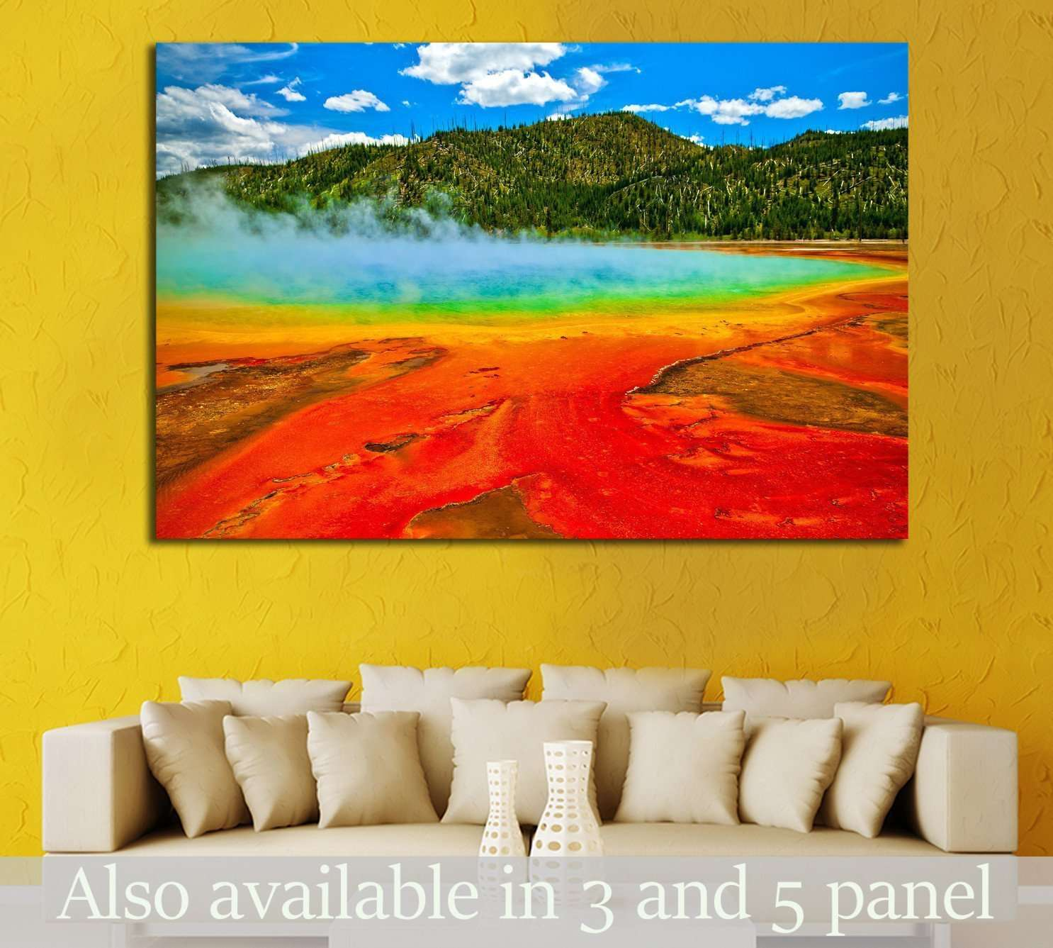 Beautiful cerulean geyser surrounded by colorful layers of bacteria, against cloudy blue sky №1960 Ready to Hang Canvas Print