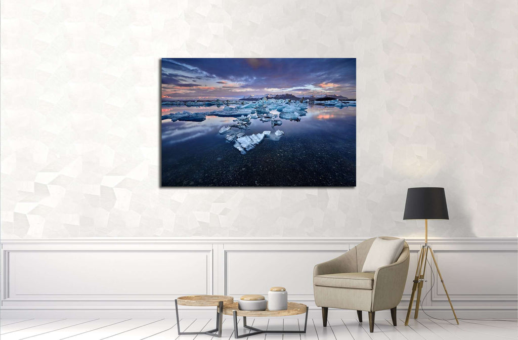 Beautiful cold landscape picture of icelandic glacier lagoon bay, Iceland №3120 Ready to Hang Canvas Print