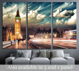 Beautiful colors of Big Ben from Westminster Bridge at Sunset - London №2256 Ready to Hang Canvas Print