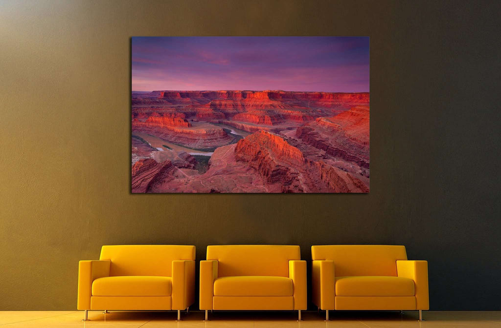 Beautiful Dead Horse Point vista during a dramatic sunrise №1972 Ready to Hang Canvas Print