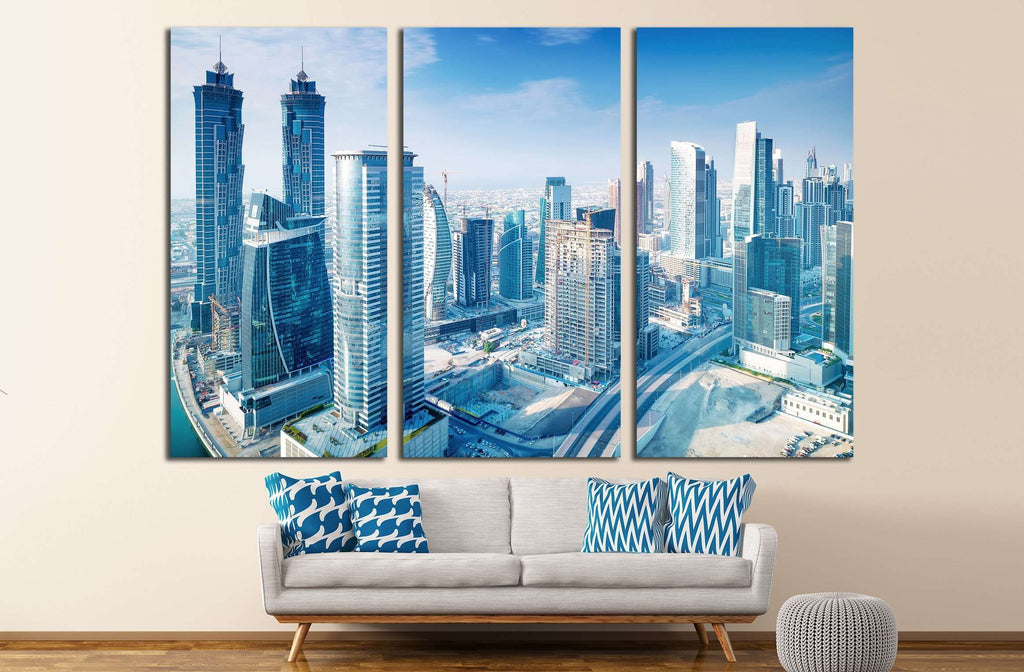 Beautiful Dubai city, bird eye view on majestic cityscape with modern new buildings, United Arab Emirates №2293 Ready to Hang Canvas Print