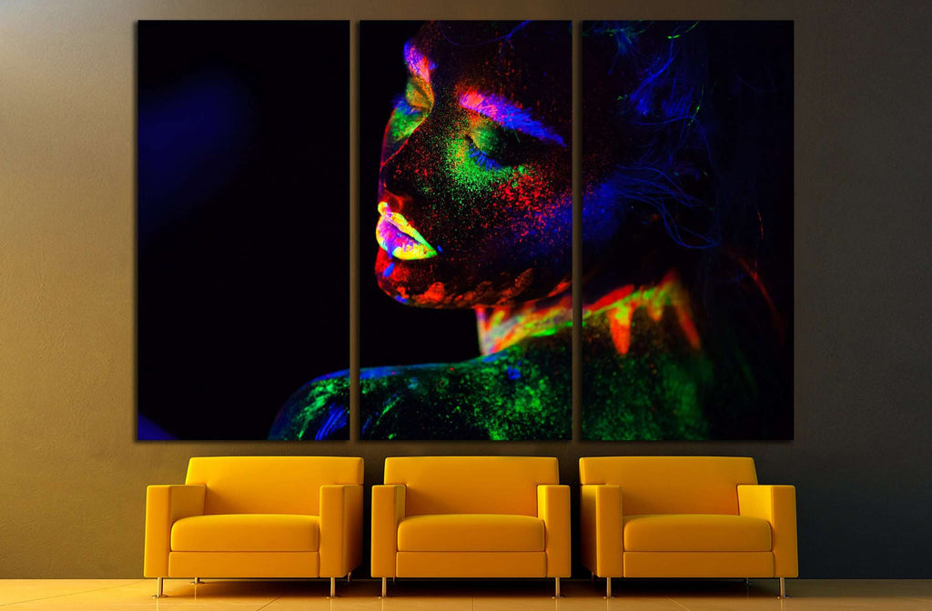 Beautiful extraterrestrial model woman in neon light. №2759 Ready to Hang Canvas Print