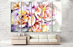 Beautiful flowers - Delicate yellow and pink roses on gray and blue background №2561 Ready to Hang Canvas Print
