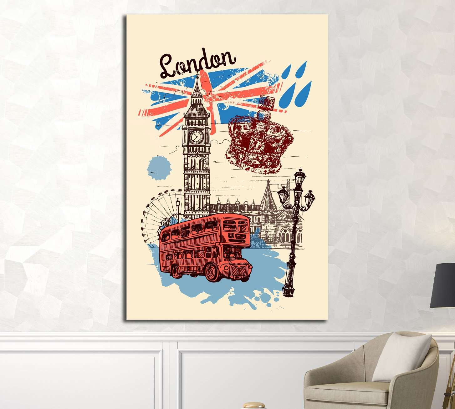 Beautiful hand drawn vector sketch illustration London №4534 Ready to Hang Canvas Print