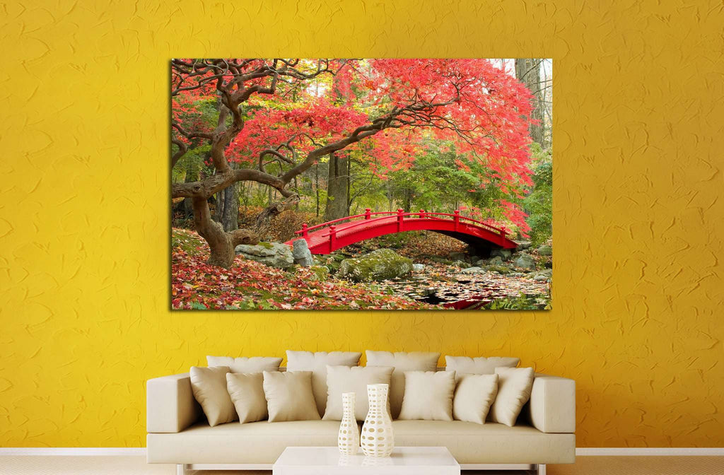 Beautiful Japanese Garden and red bridge №1444 Ready to Hang Canvas Print