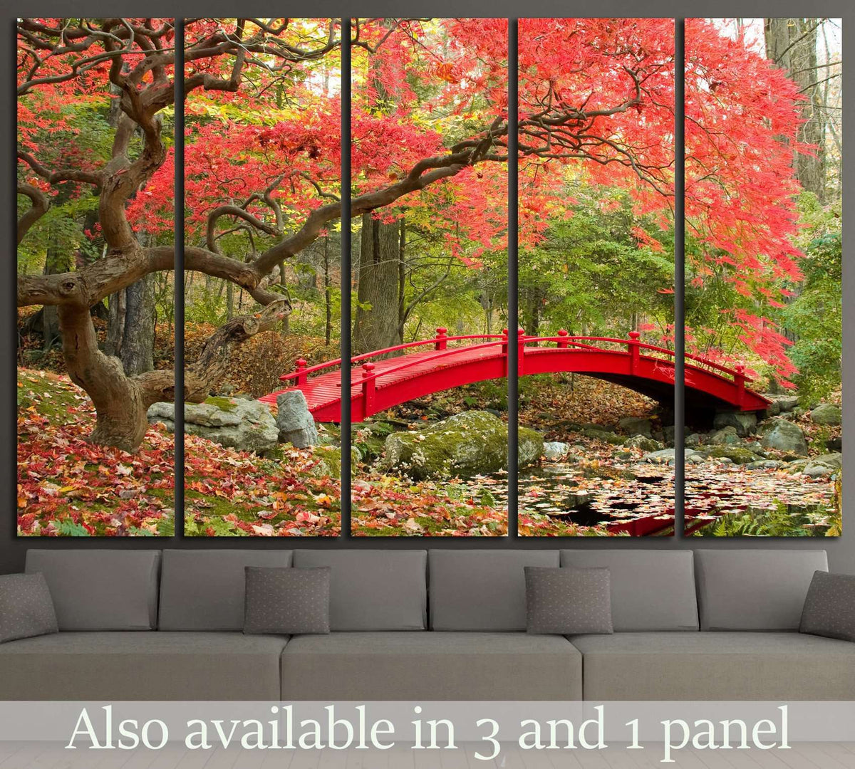 Beautiful Japanese Garden And Red Bridge №1444 Ready To