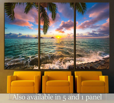 Beautiful Lanikai, Kailua Sunrise in Hawaii №3072 Ready to Hang Canvas Print
