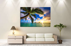Beautiful Lanikai, Kailua Sunrise in Hawaii №2527 Ready to Hang Canvas Print