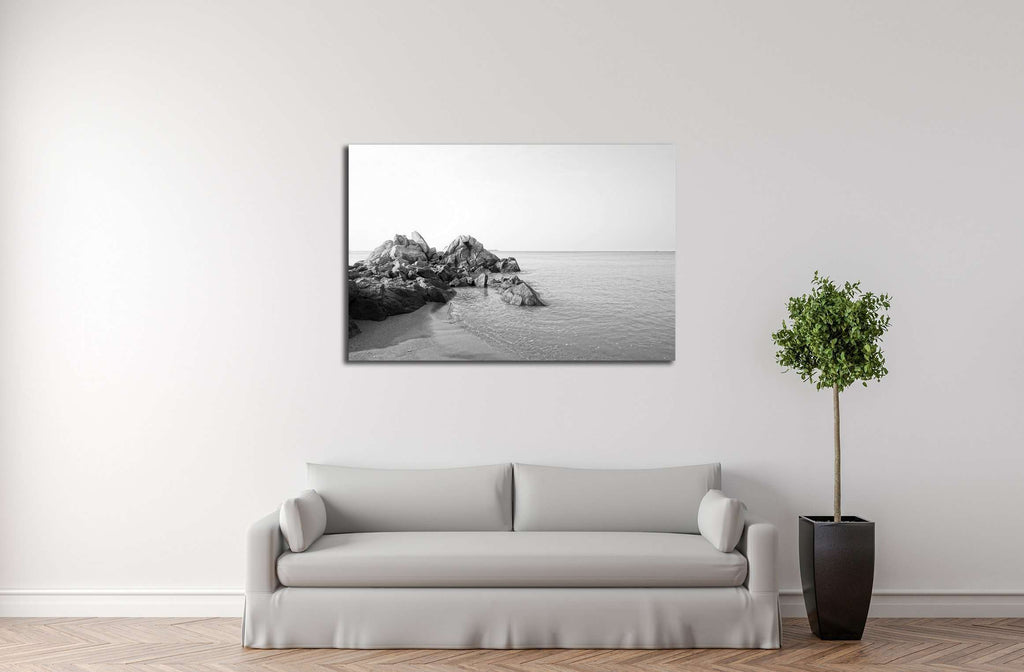 Beautiful long exposure shot of seascape with unique rock seaside in black and white №3146 Framed Canvas Print