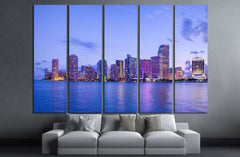 Beautiful Miami Florida skyline №1107 Ready to Hang Canvas Print