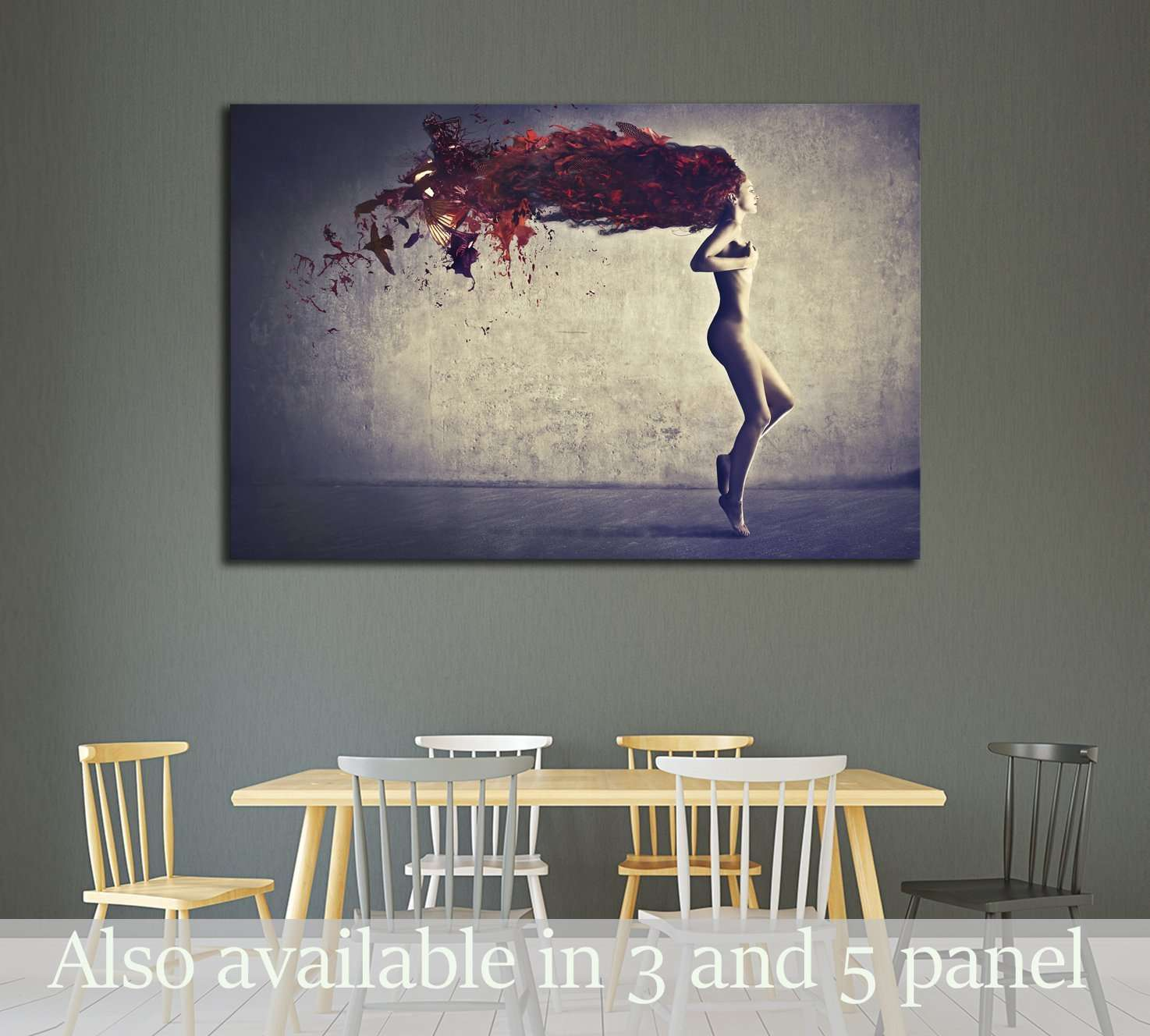 Beautiful naked young woman with her hair transforming in bird feathers №2772 Ready to Hang Canvas Print