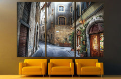 beautiful narrow street in Florence, Italy №1447 Ready to Hang Canvas Print