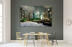 beautiful night scene in shanghai financial center №2238 Ready to Hang Canvas Print