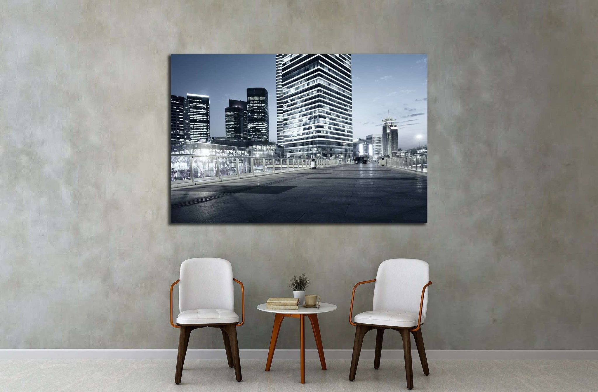 beautiful night view of modern buildings in shanghai №2144 Ready to Hang Canvas Print