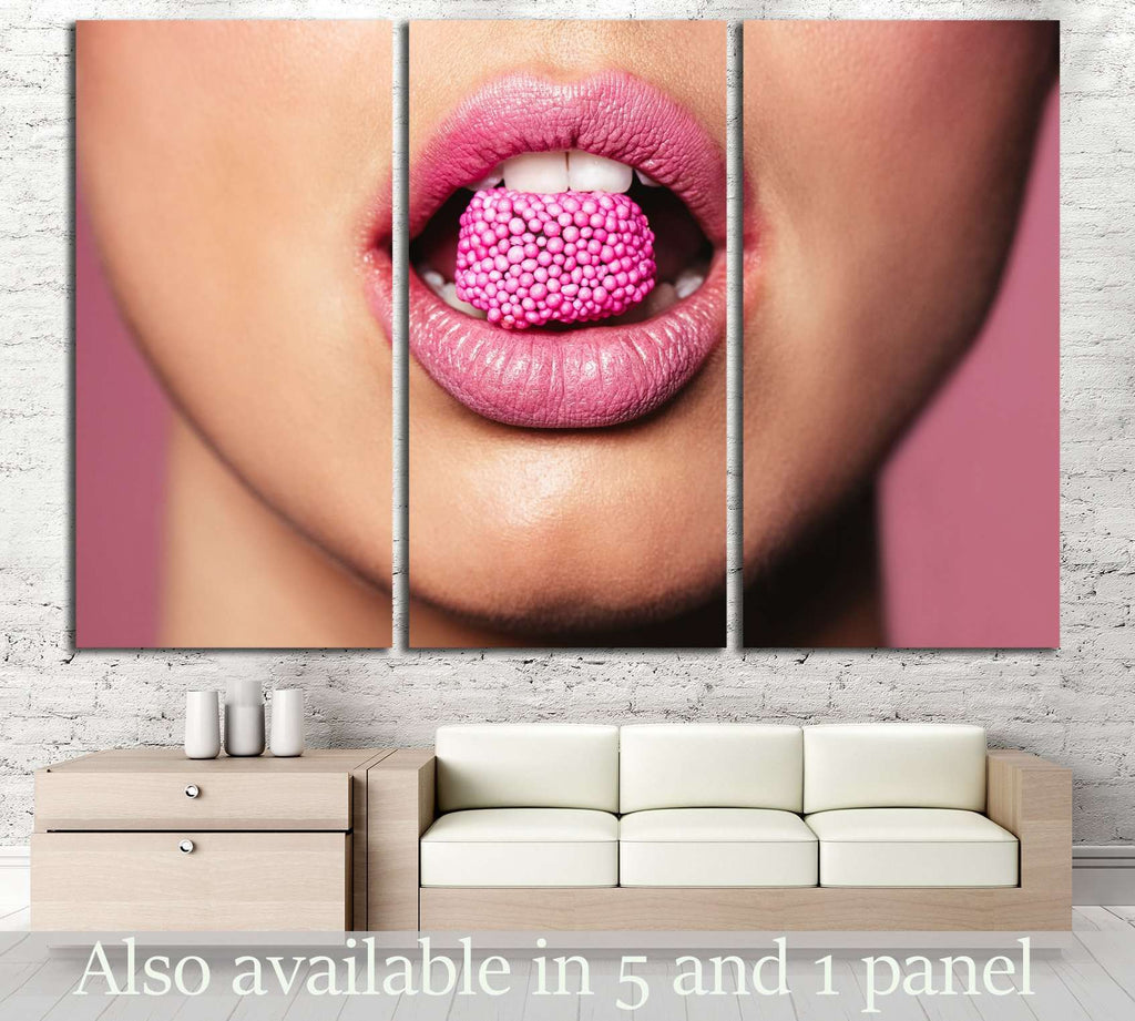 Beautiful pink lips with a piece of sweet candy. №2755 Ready to Hang Canvas Print