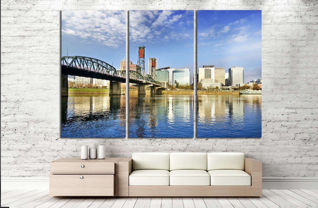 Beautiful portland skyline №782 Ready to Hang Canvas Print