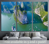 Beautiful seascape with sea and mountain from, Halong bay, Vietnam №1902 Ready to Hang Canvas Print