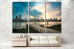 beautiful shanghai bund at dusk with old pier №2626 Ready to Hang Canvas Print
