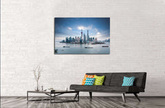beautiful shanghai skyline and huangpu river , China №2319 Ready to Hang Canvas Print