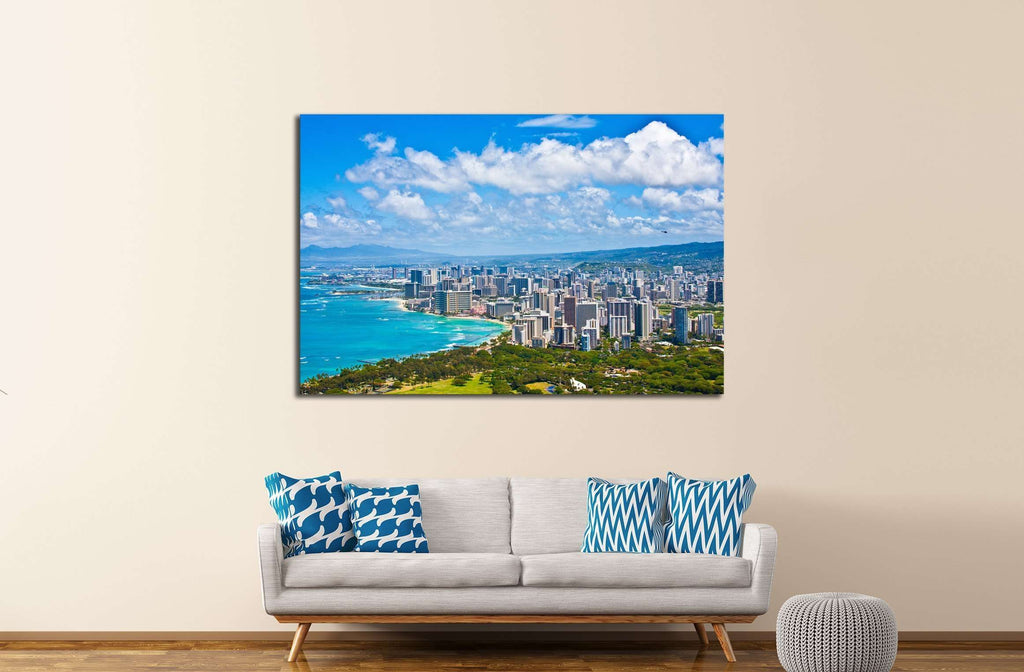 Beautiful Skyline of Oahu,Hawaii №2250 Ready to Hang Canvas Print