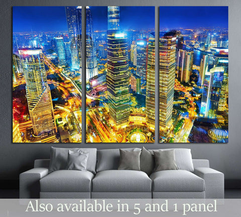 Beautiful skyscrapers,night view city building of Pudong, Shanghai, China №2899 Ready to Hang Canvas Print