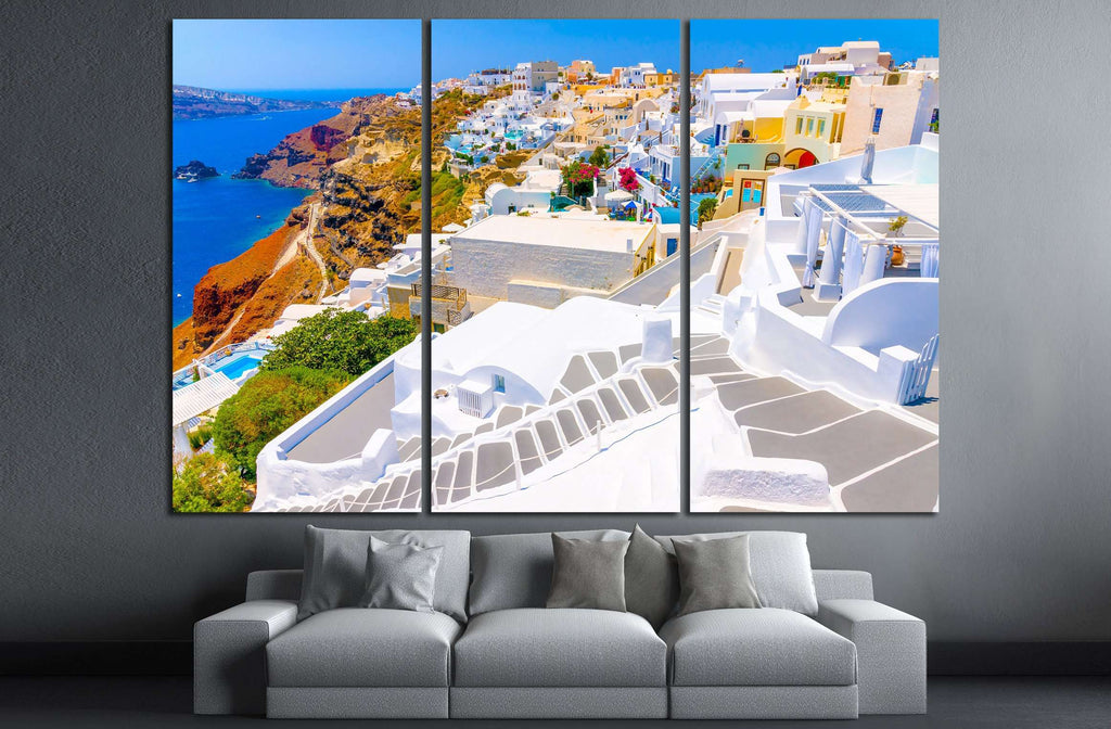 Beautiful steps in Oia the most beautiful village of Santorini island in Greece №2641 Ready to Hang Canvas Print
