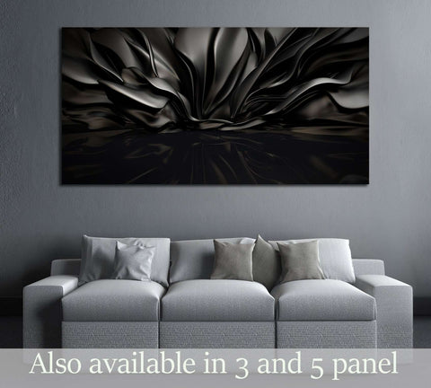 Beautiful stylish black background with developing, flying cloth in a room with a reflection on the floor №2886 Ready to Hang Canvas Print