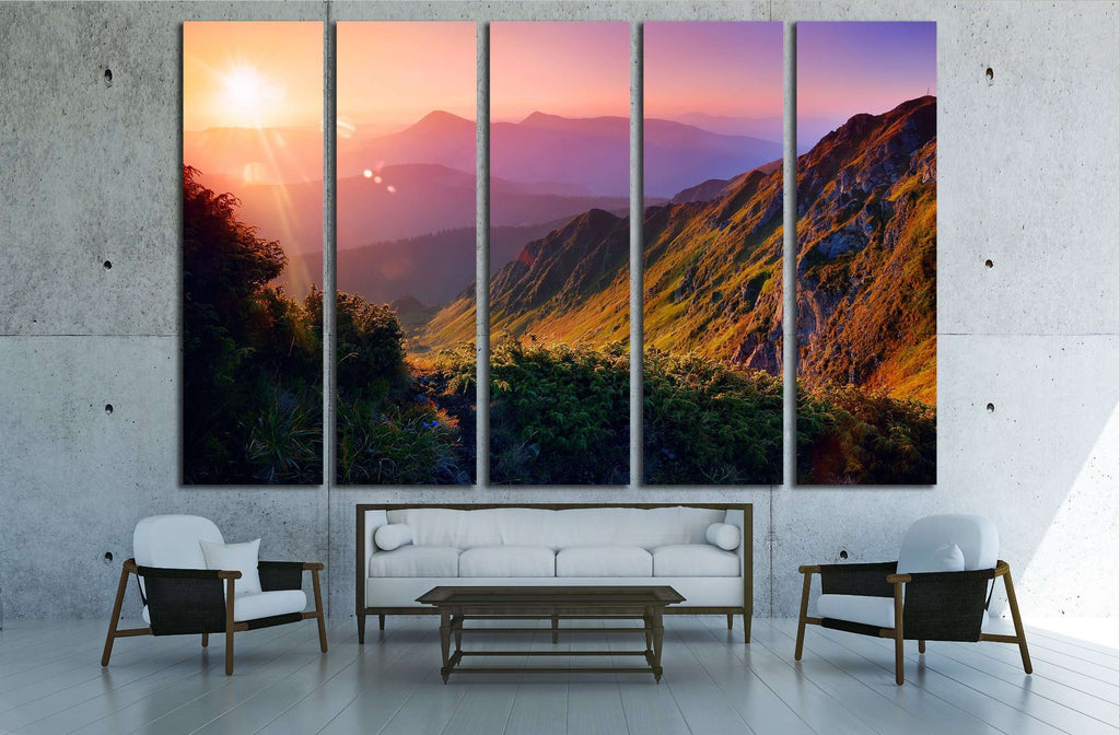 Beautiful summer landscape in the mountains with the sun at dawn №2682 Ready to Hang Canvas Print