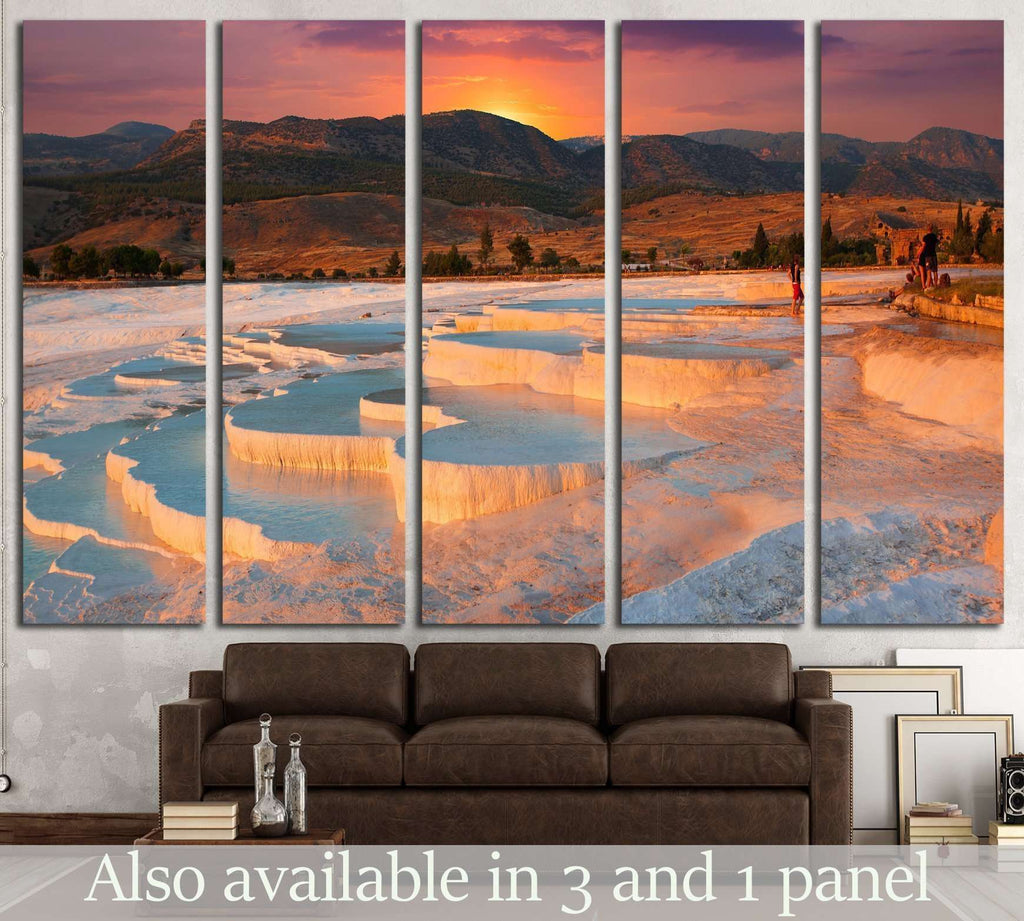 beautiful sunrise and Natural travertine pools and terraces, Pamukkale, Turkey №1968 Ready to Hang Canvas Print