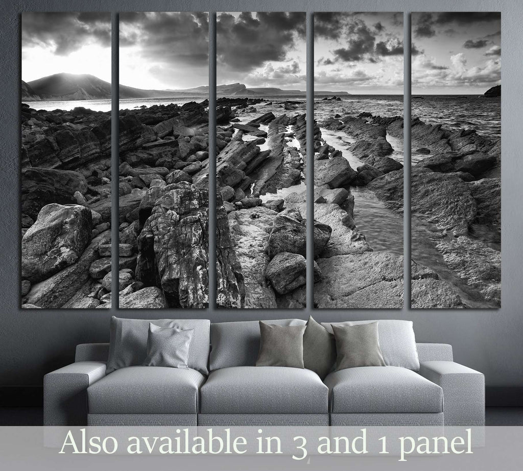 Beautiful sunrise landscape over Mupe Bay on Jurassic Coast in Dorset, England black and white №2872 Ready to Hang Canvas Print