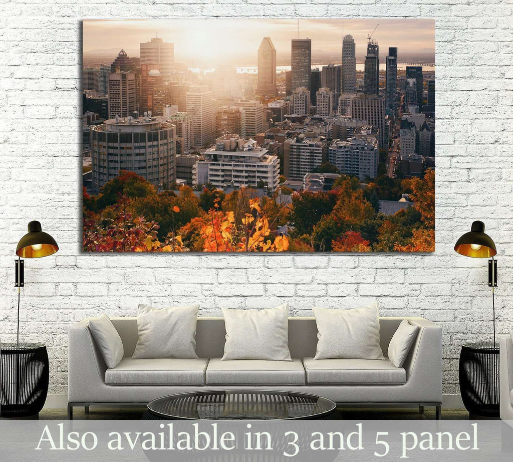 Beautiful sunrise on Montreal downtown №2079 Ready to Hang Canvas Print
