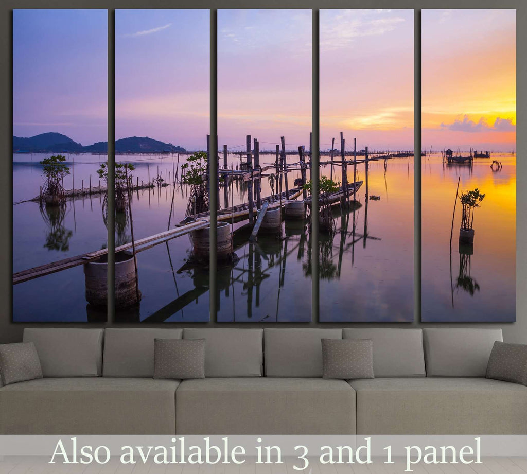 Beautiful sunset Koh yo island in Songkha, Thailand №1306 Ready to Hang Canvas Print