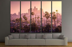 Beautiful sunset of Los Angeles downtown skyline and palm trees in foreground №2708 Ready to Hang Canvas Print