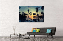 Beautiful sunset on a tropical beach with palm trees reflection in the water №3106 Ready to Hang Canvas Print