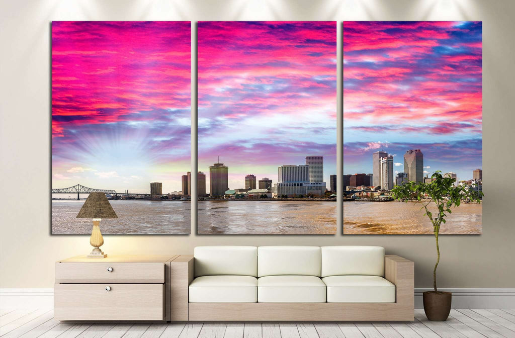 Beautiful sunset over New Orleans, Lousiana №1111 Ready to Hang Canvas Print