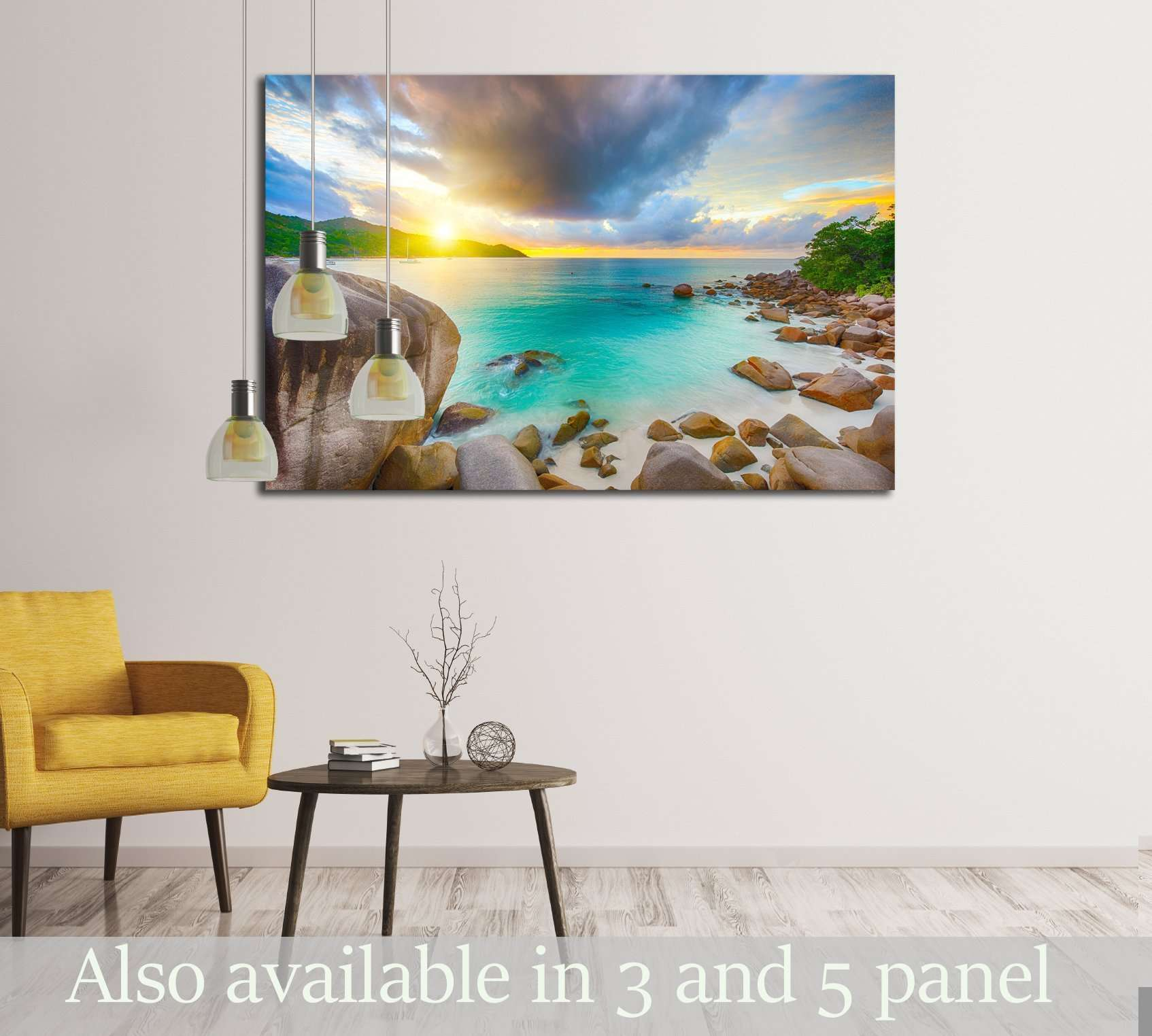 Beautiful sunset over the famous beach Anse Lazio №3094 Ready to Hang Canvas Print