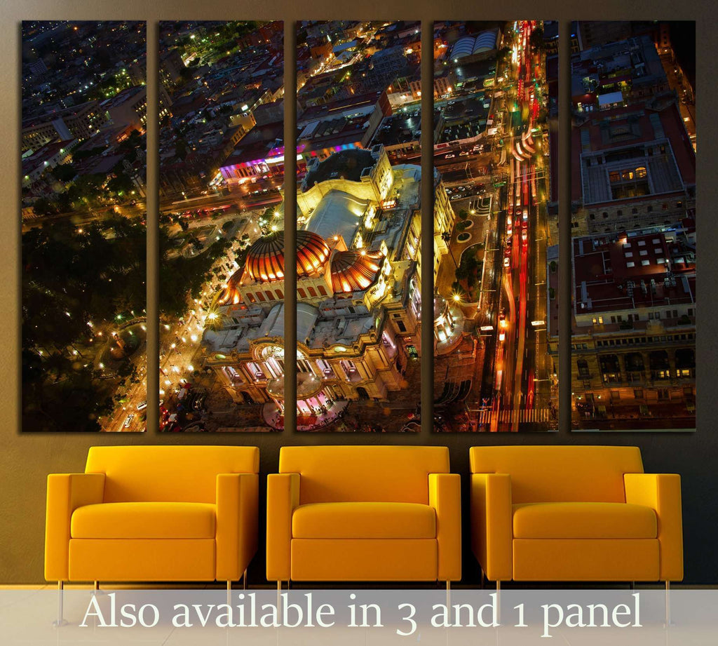 Beautiful top view of Bellas artes at night, Mexico City, Mexico №3056 Ready to Hang Canvas Print