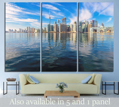 Beautiful Toronto skyline with CN Tower over lake. Canada №2086 Ready to Hang Canvas Print