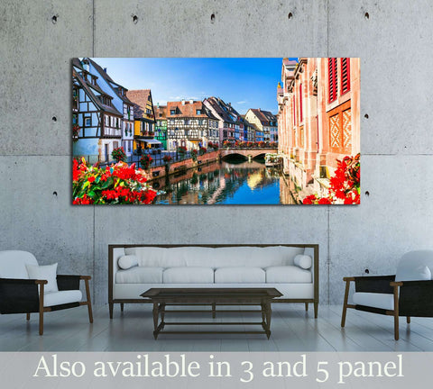 Beautiful view of colorful romantic city Colmar, France, Alsace №3052 Ready to Hang Canvas Print
