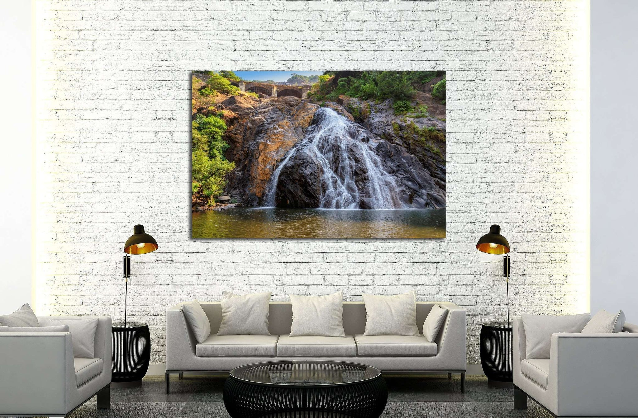 Beautiful view of the Dudhsagar waterfall in Goa, India №3092 Ready to Hang Canvas Print