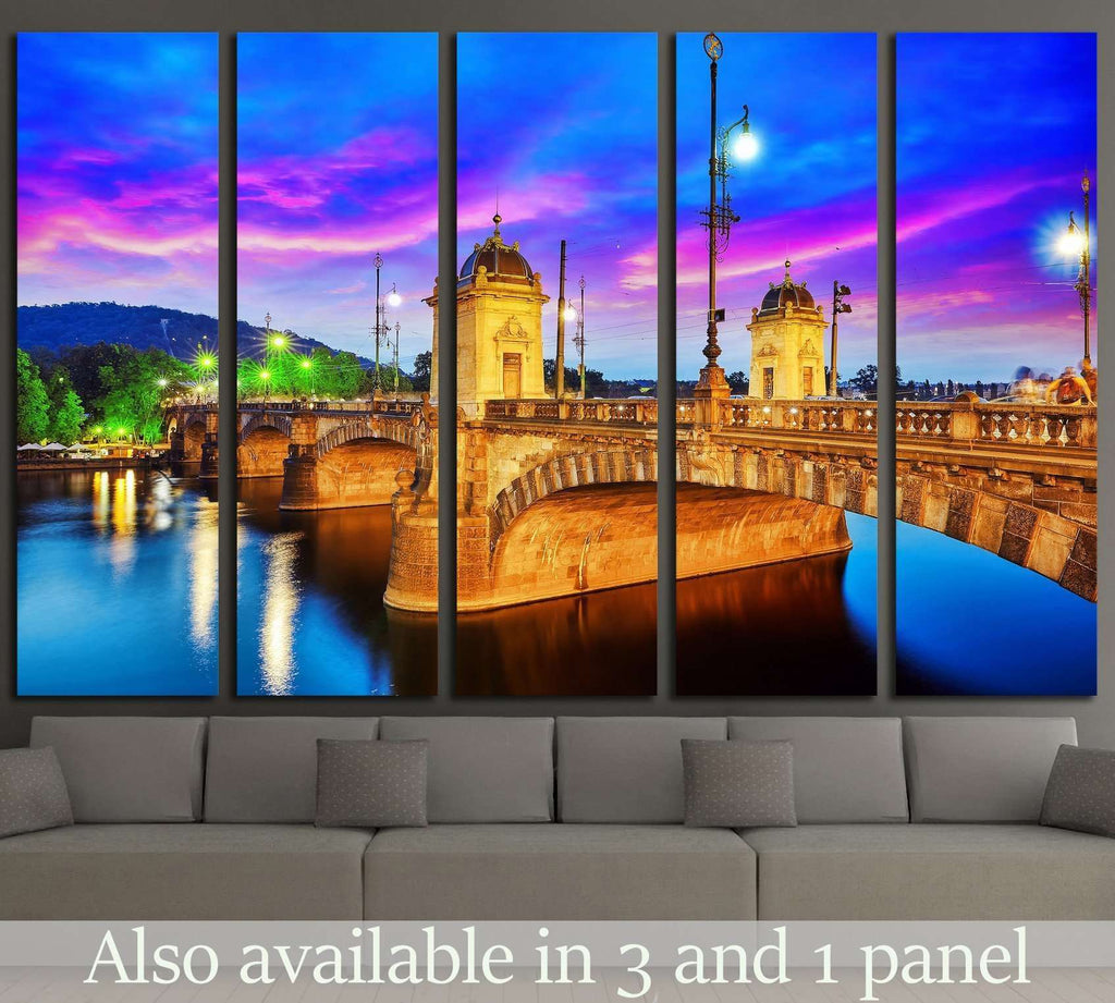 Beautiful view Old Bridge Legii (Most Legii) from the waterfront of the Vltava River.Prague.Czech Republic №2304 Ready to Hang Canvas Print